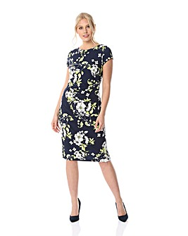 Roman Floral Ruched Waist Fitted Dress