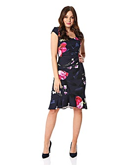 Roman Floral Frill Hem Scuba Dress