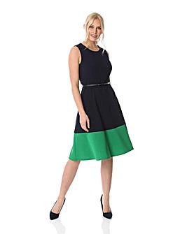 Roman Contrast Hem Fit & Flare Dress