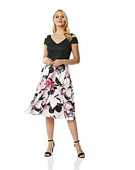 Roman Fit and flare Print Skirt Dress