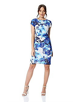 Roman Floral Print Lace Ruched Dress
