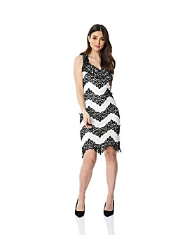 Roman Contrast Lace Fitted Dress