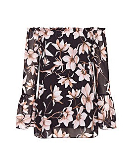 Mela London Curve Floral Bardot Top