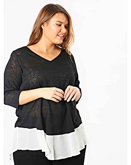 Koko Black V-Neck Semi Sheer Panel Top
