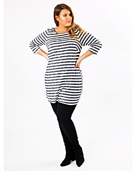 Koko Blue Stripe Tunic With 3/4 Sleeves