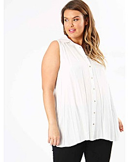 Koko Ivory Sleevless Button Down Shirt