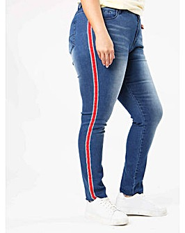 Koko Stripe Detail Blue Raw Hem Jeans