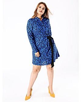Koko Blue Leopard Print Shirt Dress