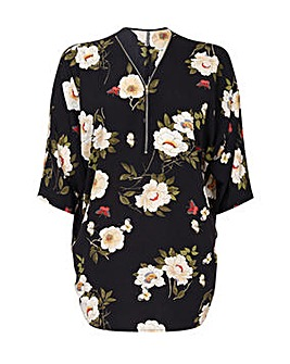 Yumi Curves Floral Blouse With Zip