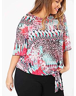 40c206796d309c Lovedrobe GB Aztec Print Tie Front Top