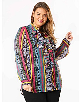 Lovedrobe GB Aztec Print Frill Shirt