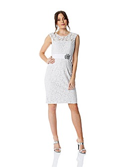 Roman Lace Embellished Trim Dress