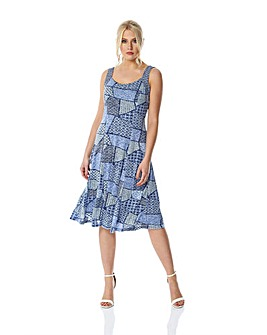 Roman Geo Print Fit and Flare Dress