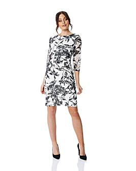 Roman 3/4 Sleeve Lace Printed Dress