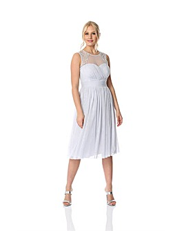 Roman Bead Embellished Knee Length Dress
