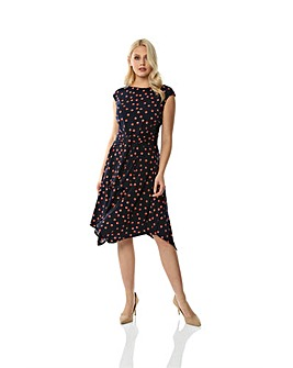 Roman Polka Dot Print Hanky Hem Dress