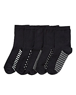 Wide Fit 5 Pack Ankle Socks