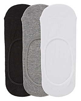 3 Pack Footsies- Wide Fit Black/Grey