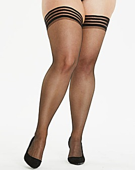 Figleaves Curve Luxe Stripe Top Hold Ups