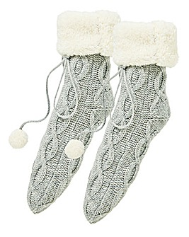 1 Pack Cable Knit Cosy Socks