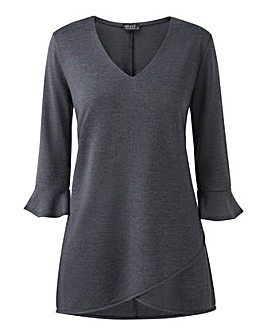 V neck tulip hem tunic with frill cuff