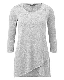 Tulip hem tunic with stud detail
