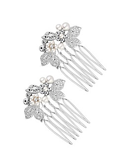 Jon Richard Silver Plated Crystal Jessica Mini Floral Hair Comb Pack Of 2