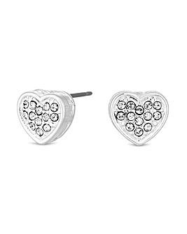 Jon Richard Silver Heart Stud Earrings