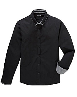 Jacamo Black Label Long Sleeve Plain Double Collar Shirt Long