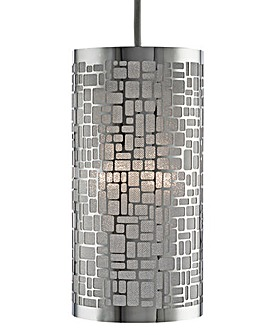 Non-Electric Chrome Easy Fit Pendant Shade with Silver Inner Lining