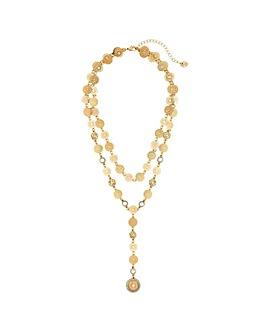 Lipsy Gold 2 Row Y Drop Necklace