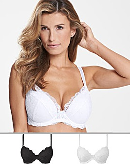 2Pack Ella Lace Plunge Black/White Bras