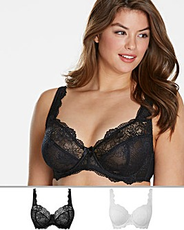 2Pack Ella Lace Full Cup Black/White Bra