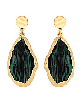 Mood Malachite Slab Drop Earrings