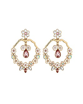 Lipsy Enamel Flower Hoop Drop Earring