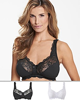2Pack Ella Lace NonWired Black/White Bra