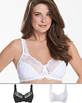 Pretty Secrets 2Pack Ella Lace Full Cup Non Wired Black/White Bras