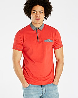 Jacamo Black Label Red S/S Trim Polo L