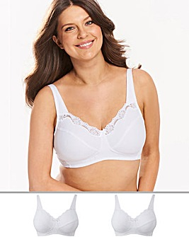 Naturally Close 2Pack Sarah Non Wired Cotton Rich White Bras