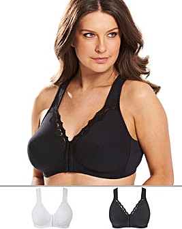 Pretty Secrets 2Pack Sarah Front Fastening White/Black Bras