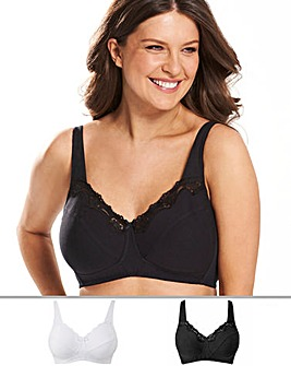 Naturally Close 2 Pack Sarah Non Wired Cotton Rich White/Black Bras