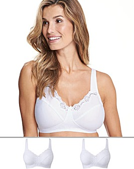 2Pack Sarah Non Wired White Bras