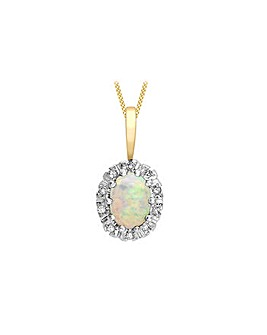 9Ct Gold Diamond & Opal Necklace