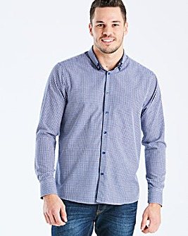 Navy L/S Gingham Trim Shirt R