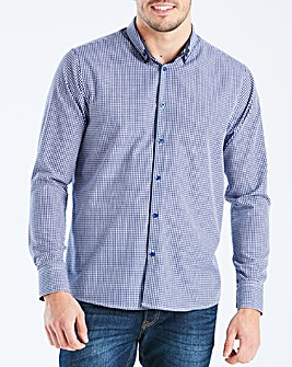 Navy L/S Gingham Trim Shirt R