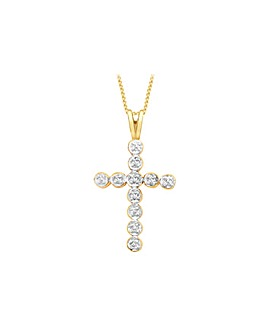 9Ct Gold Diamond Cross Necklace