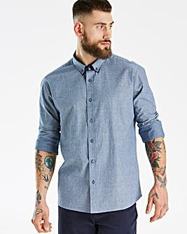 Blue LS Dot Print Shirt L
