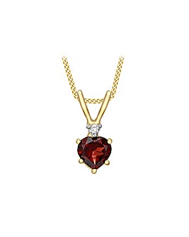 9Ct Gold Diamond & Garnet Necklace