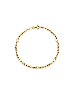 9Ct Gold Rope & Balls Bracelet