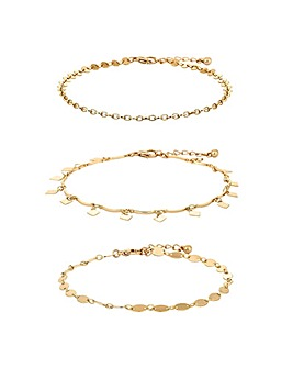 Mood Gold Plated Chain Anklet Pack Of 3